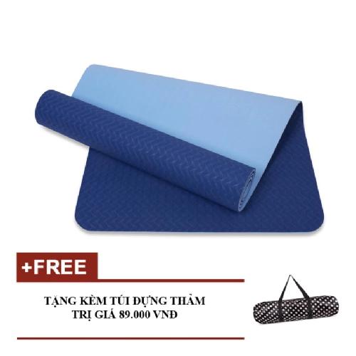 Thảm tập yoga 6mm 2 lớp TPE cao cấp (Xanh dương) - Kèm túi