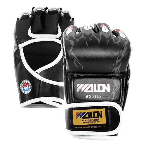 Găng tay đấm boxing hở ngón MMA Wolon (đen)