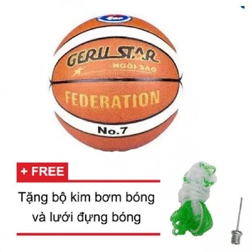 Quả bóng rổ da PU Gerustar Federation số 7 (Trắng Cam)