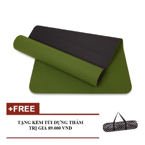 Thảm Tập Yoga Eco 6mm 2 Lớp Tpe Xanh Lá Kèm Túi