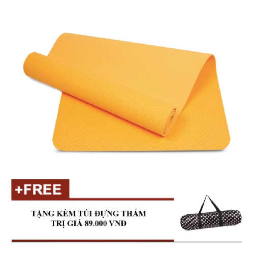 Thảm tập yoga TPE Eco 8mm cao cấp kèm túi (Cam)
